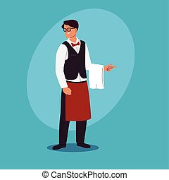 young man waiter with uniform in the restaurant