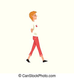 Young man walking, active healthy lifestyle concept cartoon vector Illustration on a white background