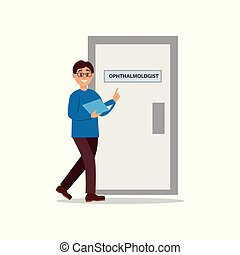 Young man walking at doctor s office. Door of ophthalmologist cabinet. Guy in glasses, blue sweater and brown pants with folder in hands. Healthcare and treatment. Flat vector