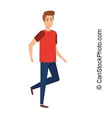 young man walking character