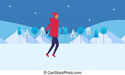young man walking in snowscape