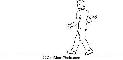Young man walking surprised. One line drawing - Continuous ...
