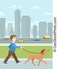 young man walking with a dog in city