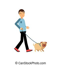 Young man walking with his dog colorful cartoon vector Illustration