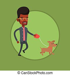 Young man walking with his dog vector illustration