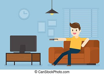 Young Man Watching Television At Home.