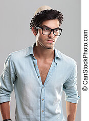 Young man wearing glasses