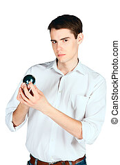 young man with a blue ball