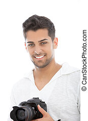 Young man with a dslr camera in his hands