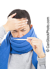 young man with a fever and aching head, painful expression