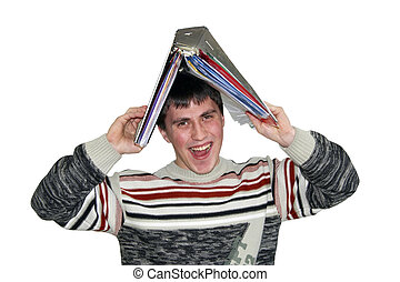 Young man with a folder on a head.