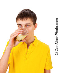 Young Man with a Fruit Juice