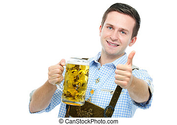 young man with a Oktoberfest beer stein