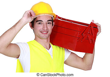 Young man with a toolbox