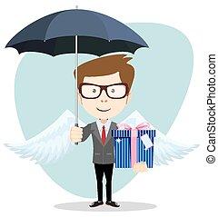 Young man with an umbrella, vector