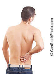 Young man with back pain