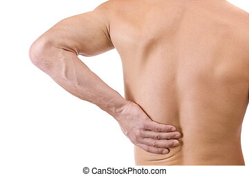 man with back pain - Young man with back pain, isolated in...