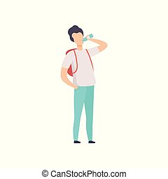 Young man with backpack drinking bottled water vector Illustration on a white background