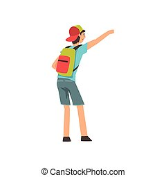 Young Man with Backpack Hailing Taxi Car Vector Illustration