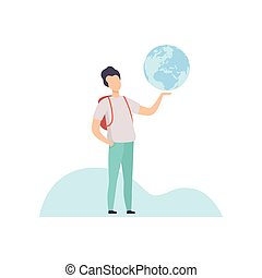 Young Man with Backpack Holding Earth Globe Vector Illustration
