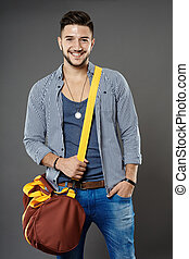Young man with bag