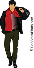 Young man with bag. Vector illustra