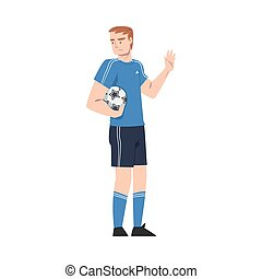 Young Man with Ball Showing Rejection and Refusal Gesture with His Hand Vector Illustration