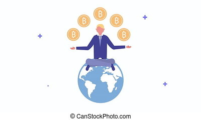 young man with bitcoins on the world character