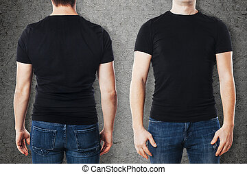 Young man with blank t-shirt template