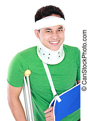 young man with broken arm