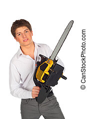 Young man with chainsaw