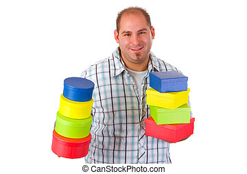 Young man with colorful gift boxes