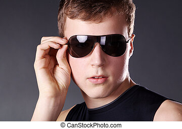 young man with cool sunglasses