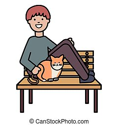 young man with cute cat in the park chair