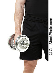 Young man with dumbbell on white background.