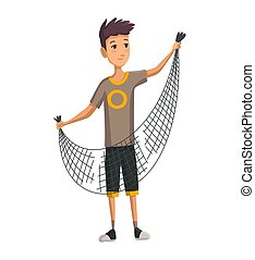 Young man with fish net in his hands. Boy prepares a fishing net. Successful fishing