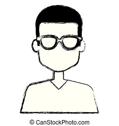 young man with glasses avatar character