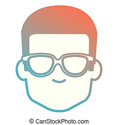 young man with glasses head avatar