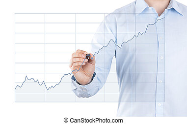 Young man with growing chart