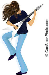 Young man with guitar. Eps 10 - Young expressive long-haired...