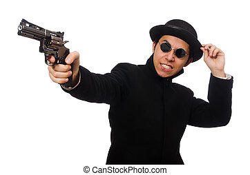 Young man with gun isolated on white