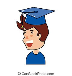 young man with hat graduation