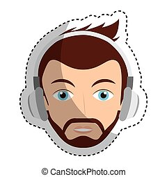 young man with headset character
