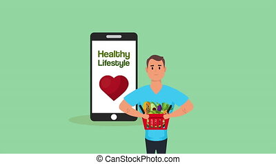 young man with healthy life style and vegan food in smartphone