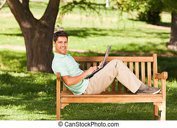 Young man with his laptop