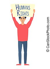 young man with human rights label character vector...