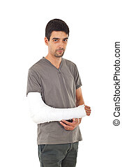 Young man with injured arm isolated on white background
