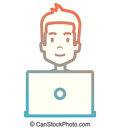 young man with laptop avatar character