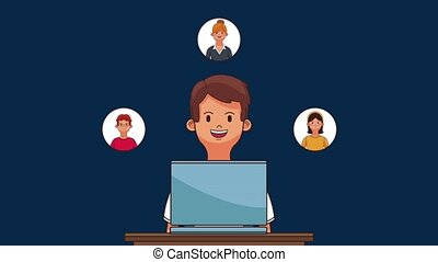 Young man with laptop HD animation