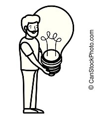 young man with light bulb avatar character